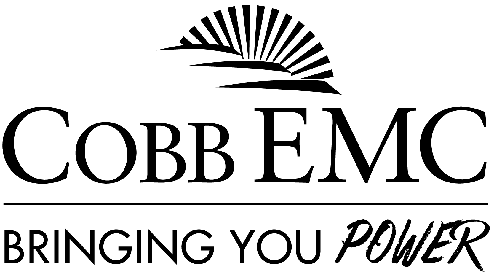 COBB EMC BRINGING YOU POWER black and white sunrise logo