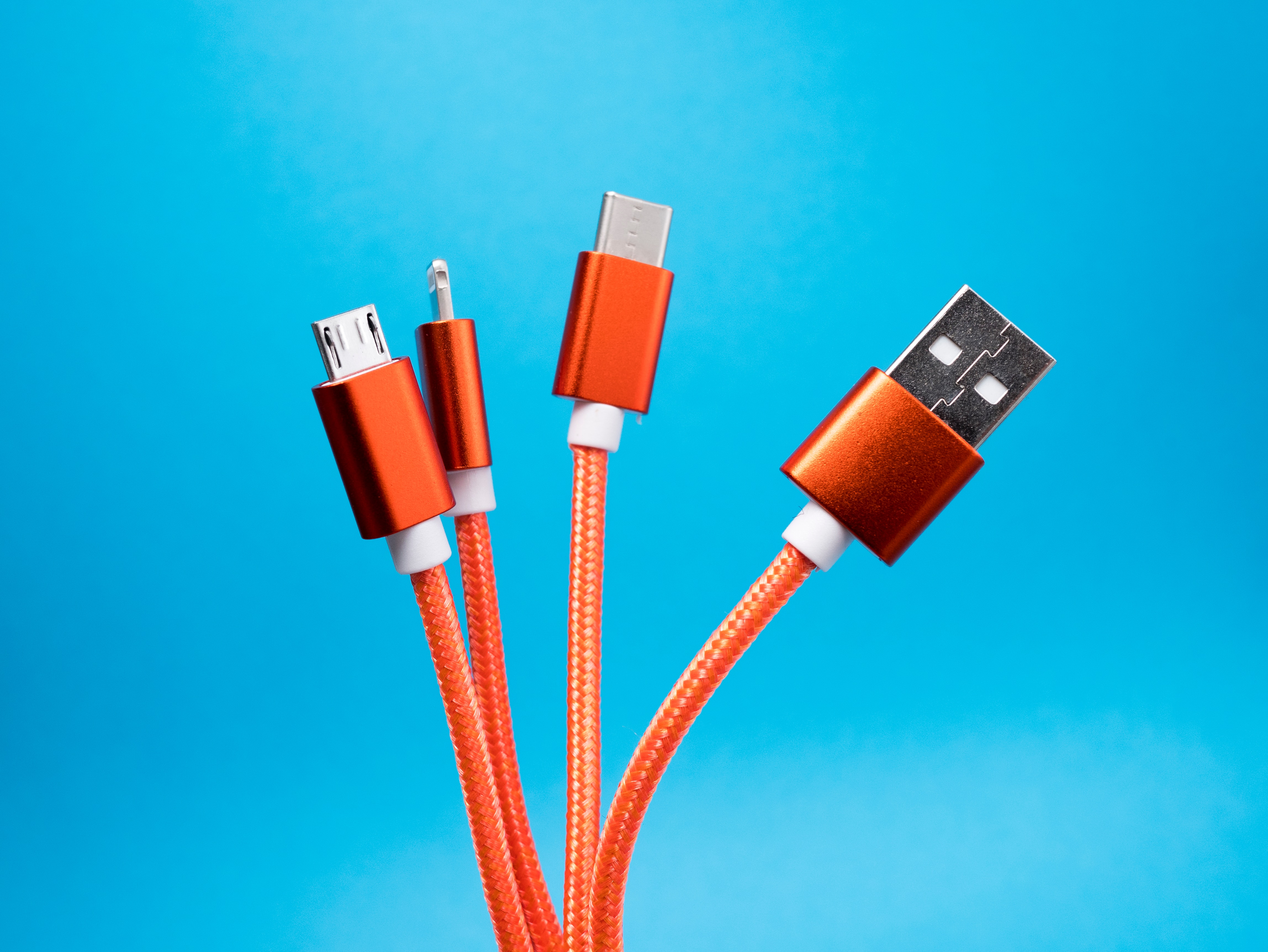Orange charger cord promotional item.