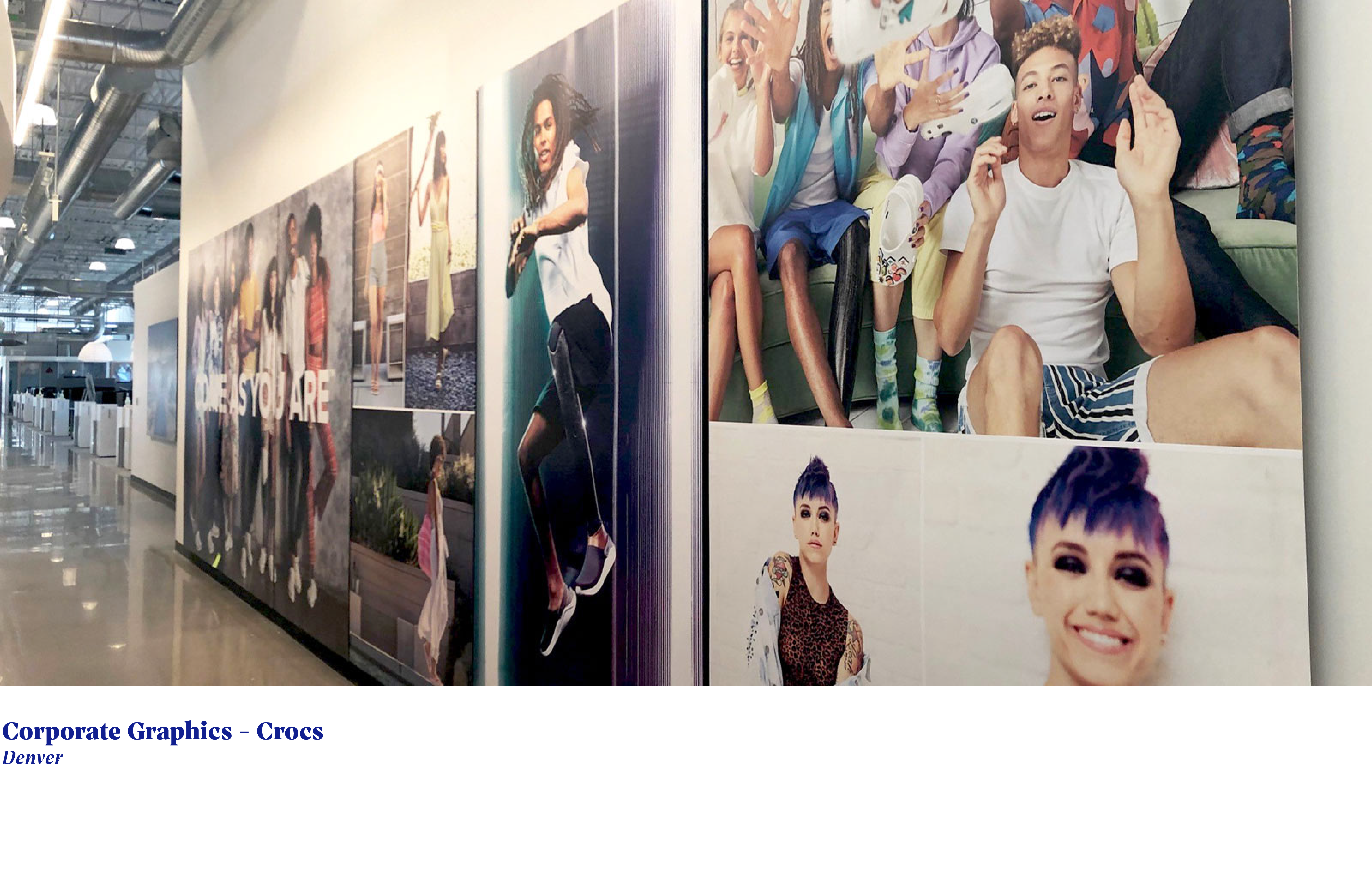 wall graphics of young smiling people on office wall at crocs headquarters