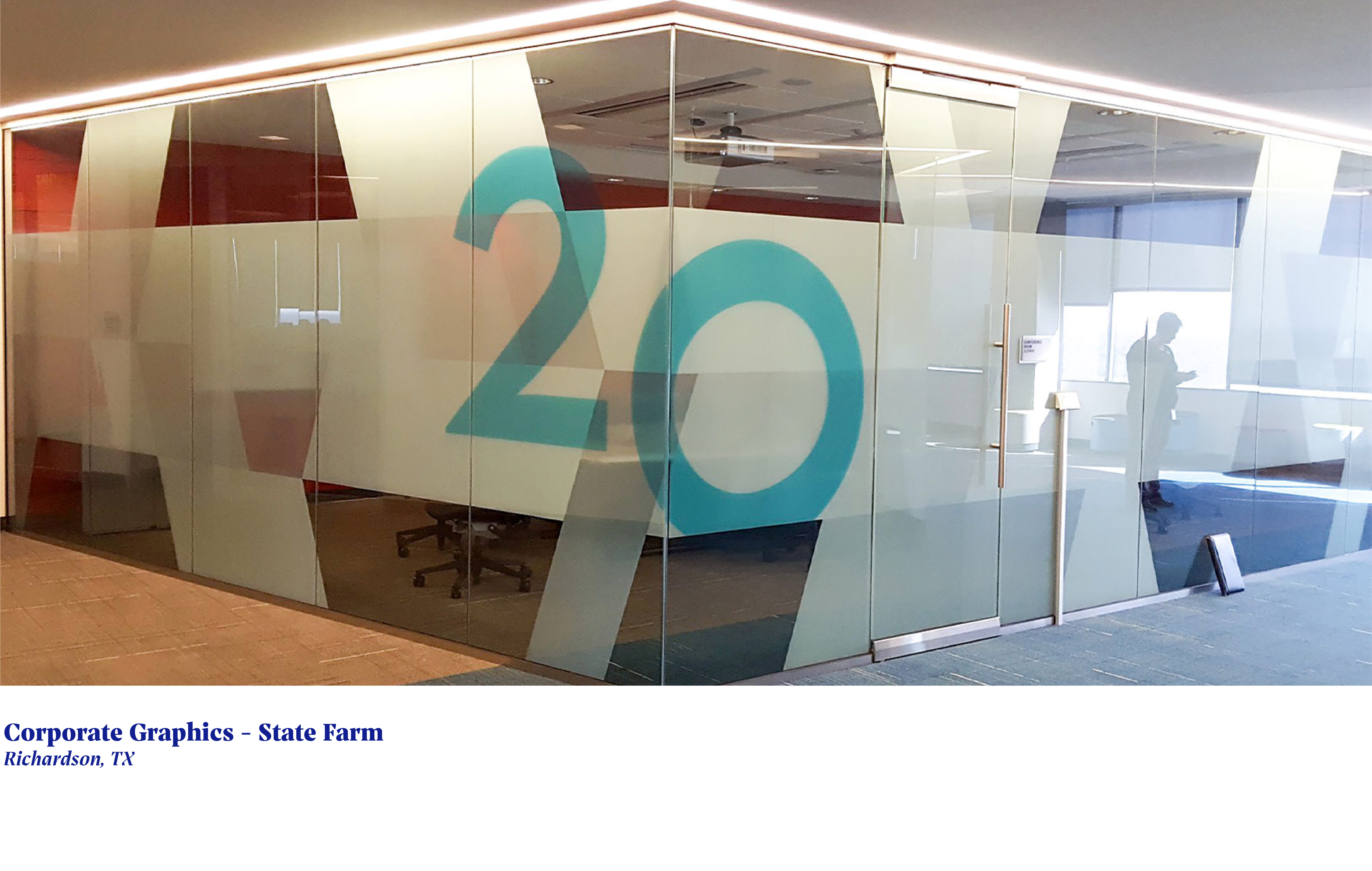 window graphics for conference room reading number twenty